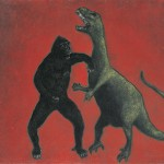 """king kong vs. t-rex""65x85 cm"